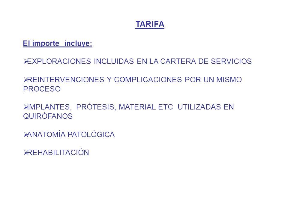 TARIFA El importe incluye: EXPLORACIONES INCLUIDAS EN LA CARTERA DE SERVICIOS REINTERVENCIONES Y COMPLICACIONES POR UN MISMO PROCESO IMPLANTES, PRÓTESIS, MATERIAL ETC UTILIZADAS EN QUIRÓFANOS ANATOMÍA PATOLÓGICA REHABILITACIÓN
