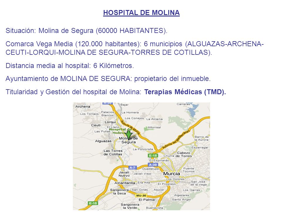 HOSPITAL DE MOLINA Situación: Molina de Segura (60000 HABITANTES).