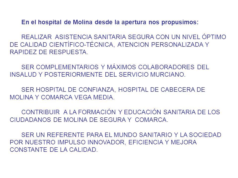 En el hospital de Molina desde la apertura nos propusimos: REALIZAR ASISTENCIA SANITARIA SEGURA CON UN NIVEL ÓPTIMO DE CALIDAD CIENTÍFICO-TÉCNICA, ATENCION PERSONALIZADA Y RAPIDEZ DE RESPUESTA.