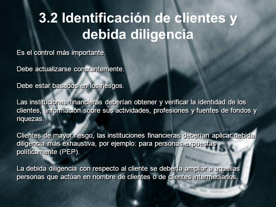 3.2 Identificación de clientes y debida diligencia Es el control más importante.