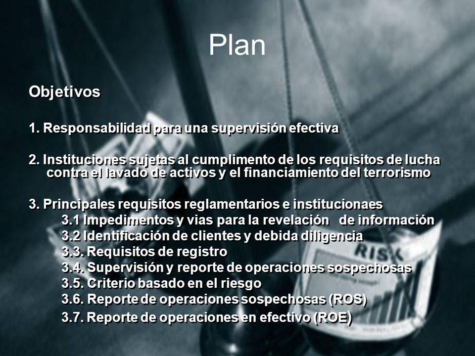 Plan Objetivos 1.Responsabilidad para una supervisión efectiva 2.