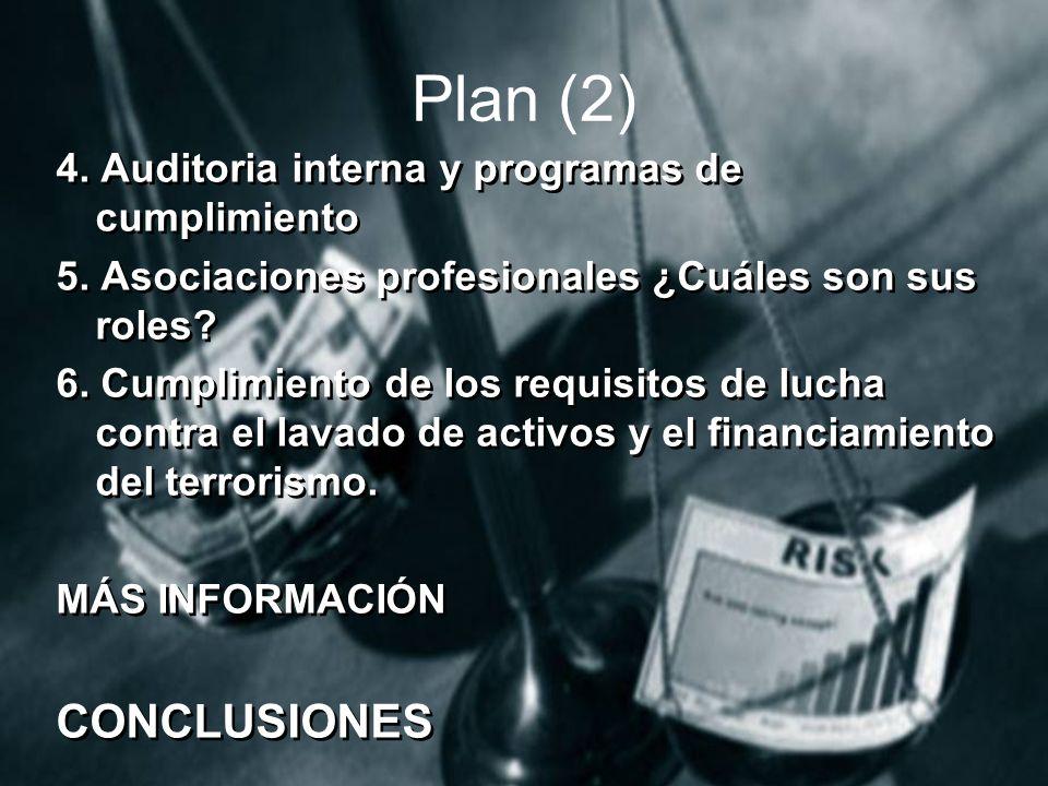 Plan (2) 4.Auditoria interna y programas de cumplimiento 5.