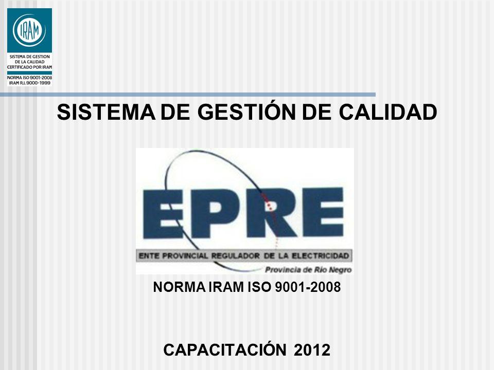 SISTEMA DE GESTIÓN DE CALIDAD NORMA IRAM ISO 9001-2008 CAPACITACIÓN 2012