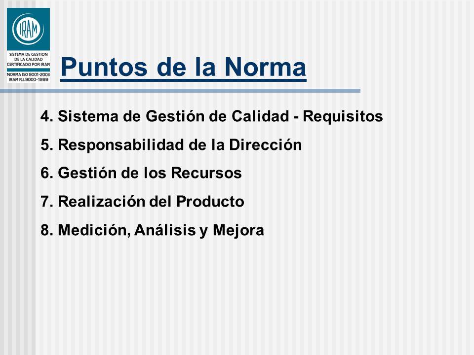 Puntos de la Norma 4. Sistema de Gestión de Calidad - Requisitos 5. Responsabilidad de la Dirección 6. Gestión de los Recursos 7. Realización del Prod