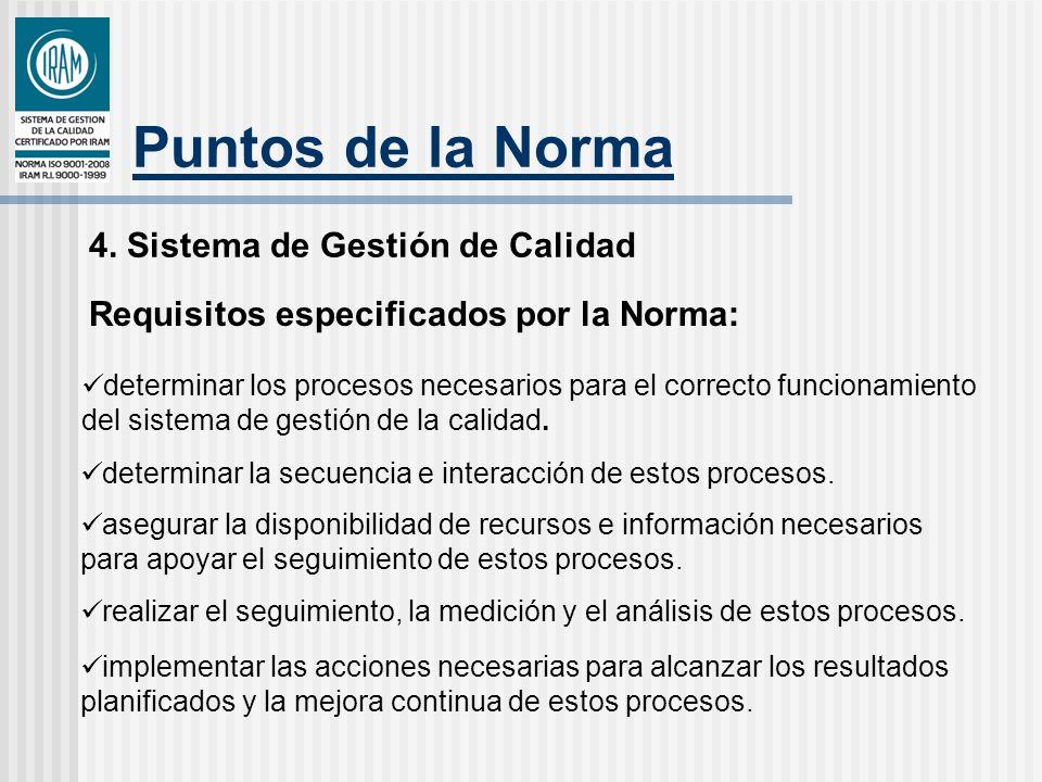 Puntos de la Norma 4. Sistema de Gestión de Calidad Requisitos especificados por la Norma: determinar los procesos necesarios para el correcto funcion