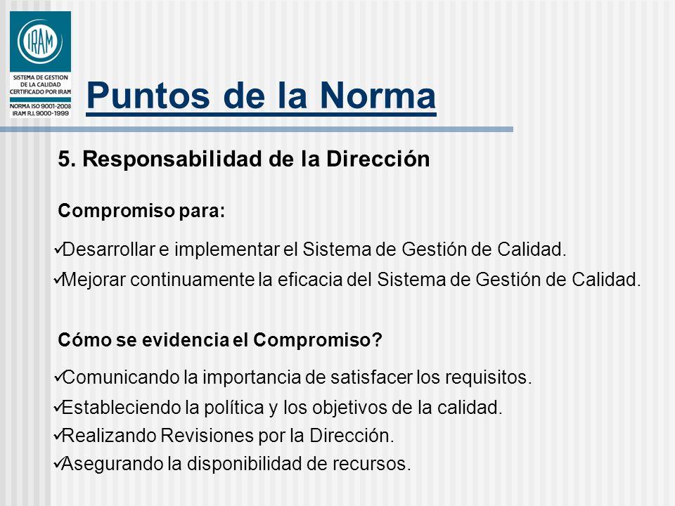 Puntos de la Norma 5. Responsabilidad de la Dirección Compromiso para: Desarrollar e implementar el Sistema de Gestión de Calidad. Mejorar continuamen