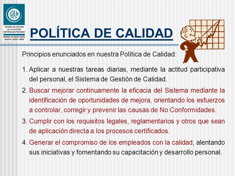 POLÍTICA DE CALIDAD Principios enunciados en nuestra Política de Calidad: 1.Aplicar a nuestras tareas diarias, mediante la actitud participativa del p