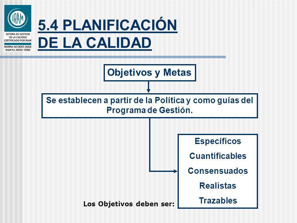 5.4 PLANIFICACIÓN DE LA CALIDAD Se establecen a partir de la Política y como guías del Programa de Gestión. Específicos Cuantificables Consensuados Re