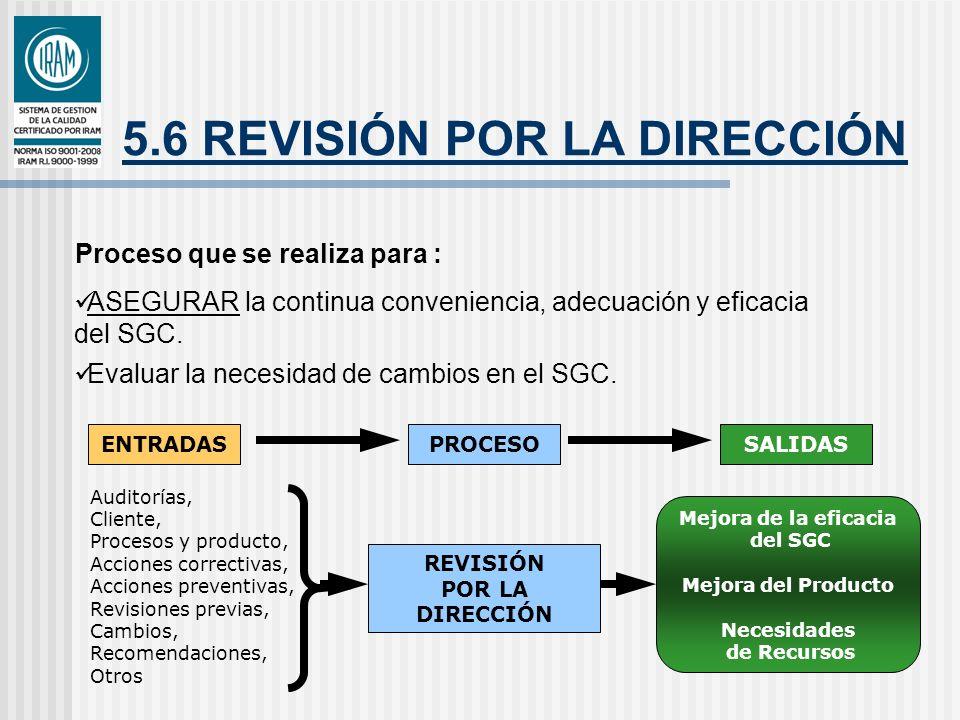 5.6 REVISIÓN POR LA DIRECCIÓN Proceso que se realiza para : ASEGURAR la continua conveniencia, adecuación y eficacia del SGC. Evaluar la necesidad de
