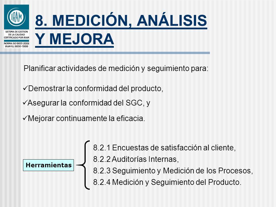 8. MEDICIÓN, ANÁLISIS Y MEJORA Planificar actividades de medición y seguimiento para: Demostrar la conformidad del producto, Asegurar la conformidad d