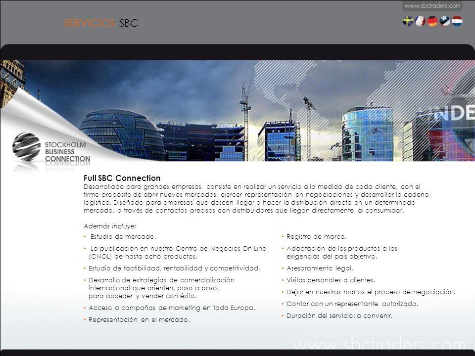 Full SBC Connection Desarrollado para grandes empresas, consiste en realizar un servicio a la medida de cada cliente, con el firme propósito de abrir nuevos mercados, ejercer representación en negociaciones y desarrollar la cadena logística.