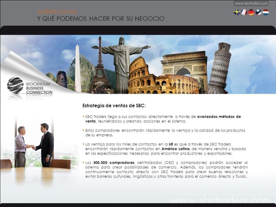 QUIÉNES SOMOS Y QUÉ PODEMOS HACER POR SU NEGOCIO Estrategia de ventas de SBC: SBC Traders llega a sus contactos directamente a través de avanzados métodos de venta, reuniéndolos y creando acciones en el sistema.
