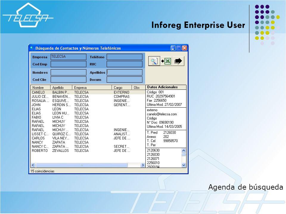 Agenda de búsqueda Inforeg Enterprise User