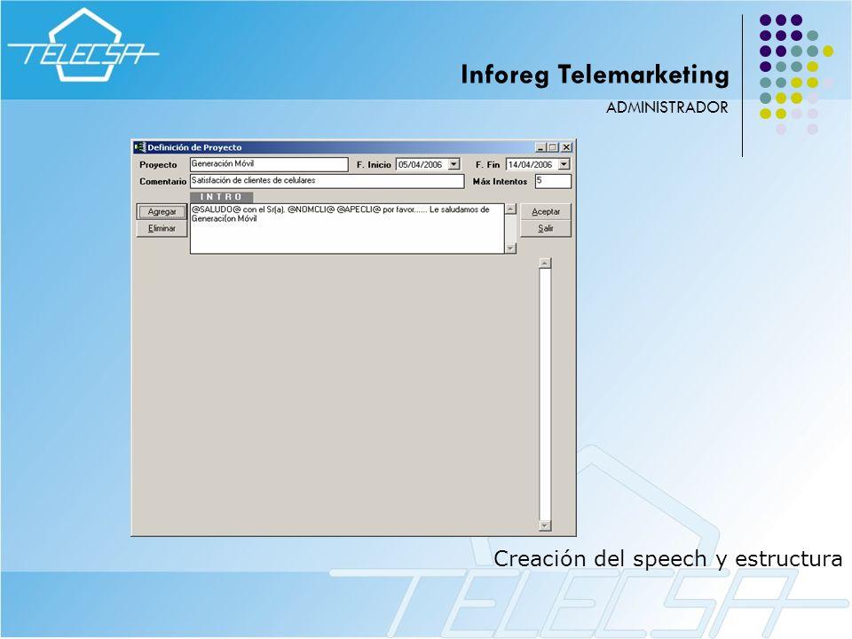 Creación del speech y estructura ADMINISTRADOR Inforeg Telemarketing