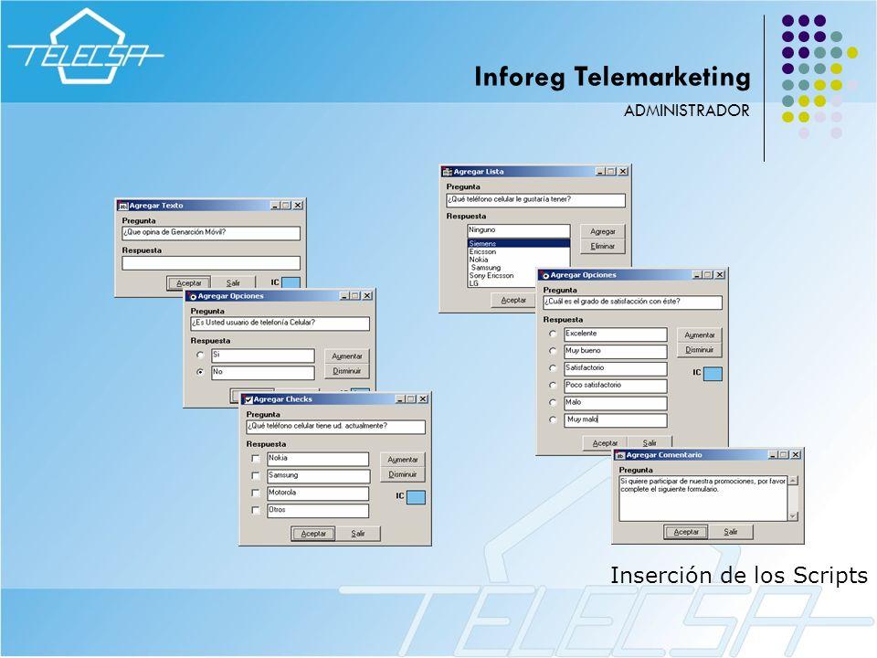 Inserción de los Scripts ADMINISTRADOR Inforeg Telemarketing