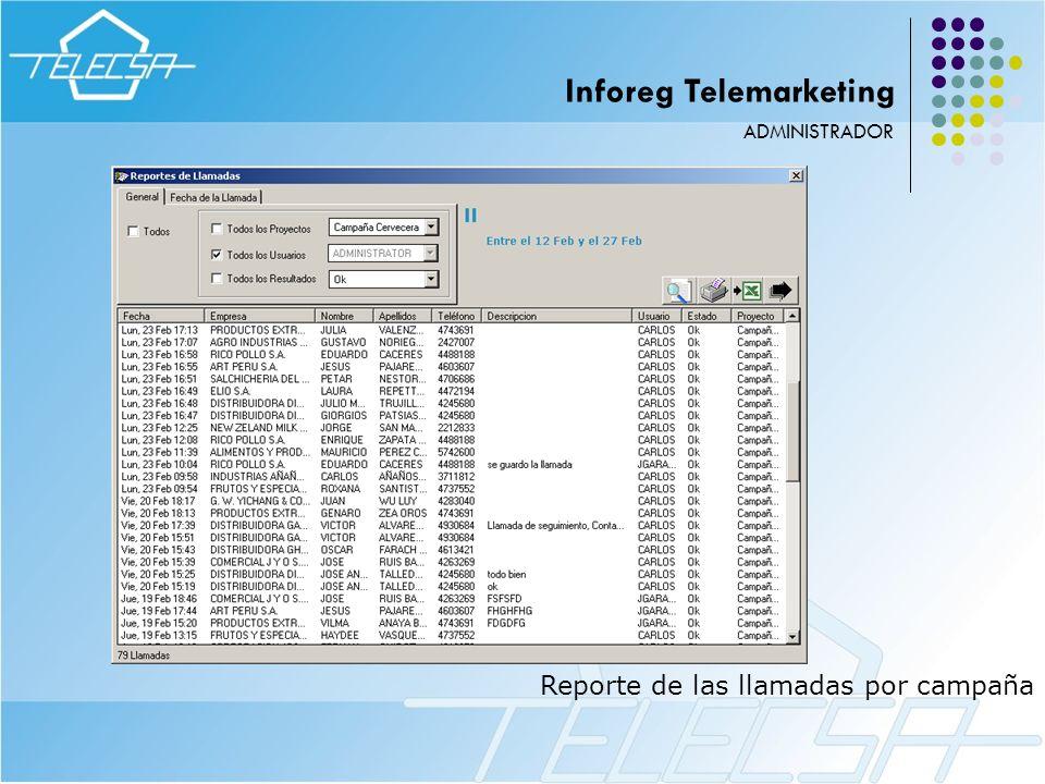 Reporte de las llamadas por campaña ADMINISTRADOR Inforeg Telemarketing