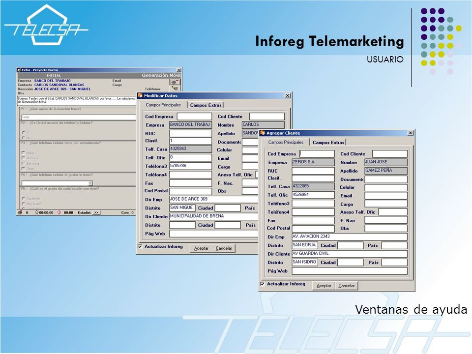 Ventanas de ayuda USUARIO Inforeg Telemarketing
