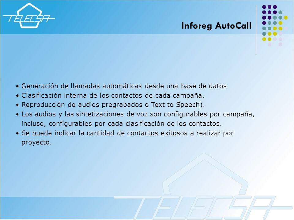 Generación de llamadas automáticas desde una base de datos Clasificación interna de los contactos de cada campaña. Reproducción de audios pregrabados