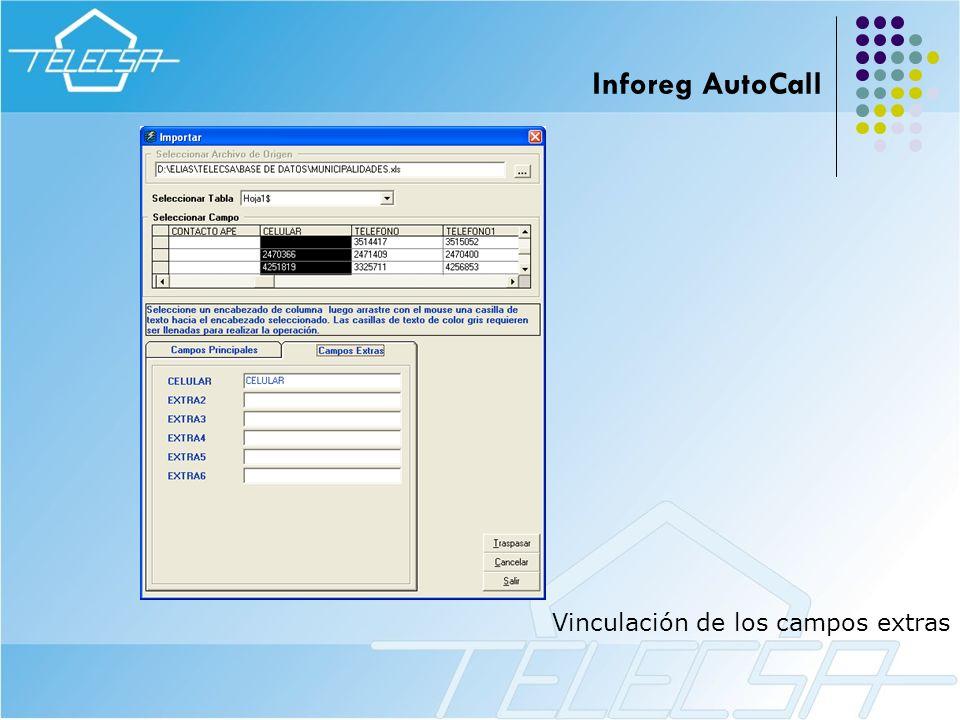 Vinculación de los campos extras Inforeg AutoCall