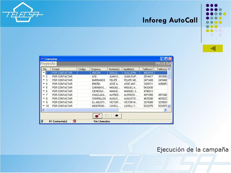 Ejecución de la campaña Inforeg AutoCall