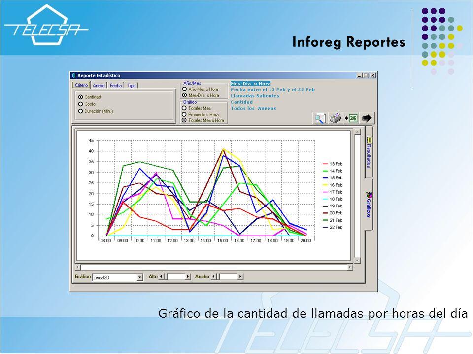 Gráfico de la cantidad de llamadas por horas del día Inforeg Reportes