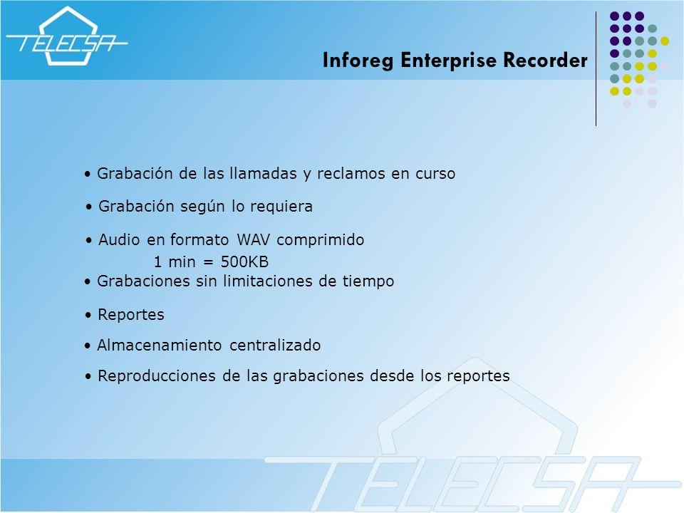 Grabación de las llamadas y reclamos en curso Reportes Audio en formato WAV comprimido 1 min = 500KB Grabaciones sin limitaciones de tiempo Grabación