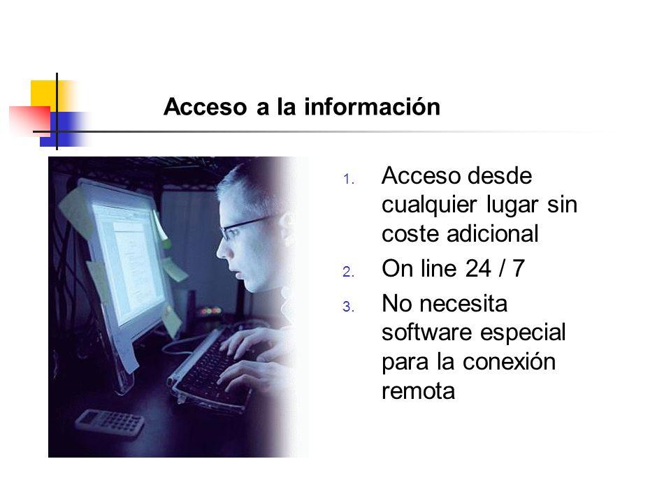 Acceso a la información 1. Acceso desde cualquier lugar sin coste adicional 2.