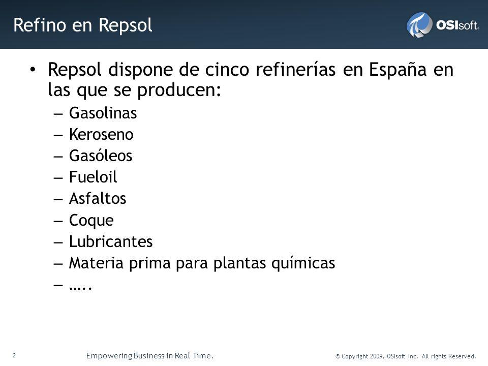 2 Empowering Business in Real Time. © Copyright 2009, OSIsoft Inc. All rights Reserved. Refino en Repsol Repsol dispone de cinco refinerías en España