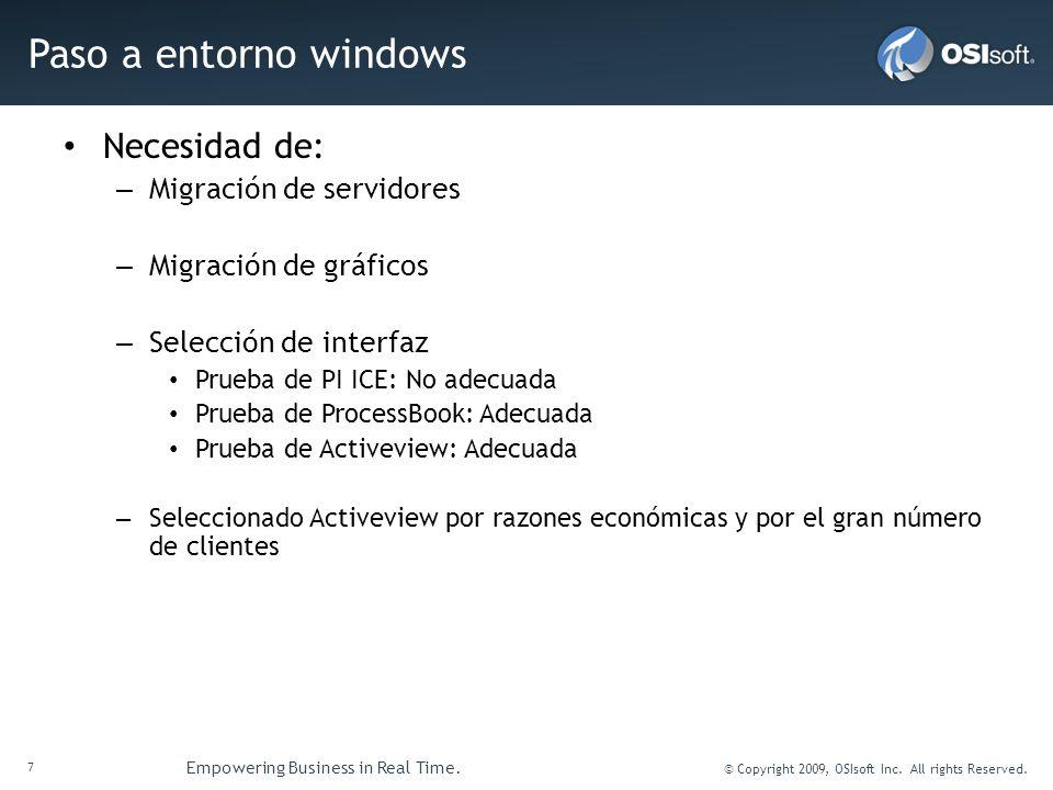 7 Empowering Business in Real Time. © Copyright 2009, OSIsoft Inc. All rights Reserved. Paso a entorno windows Necesidad de: – Migración de servidores