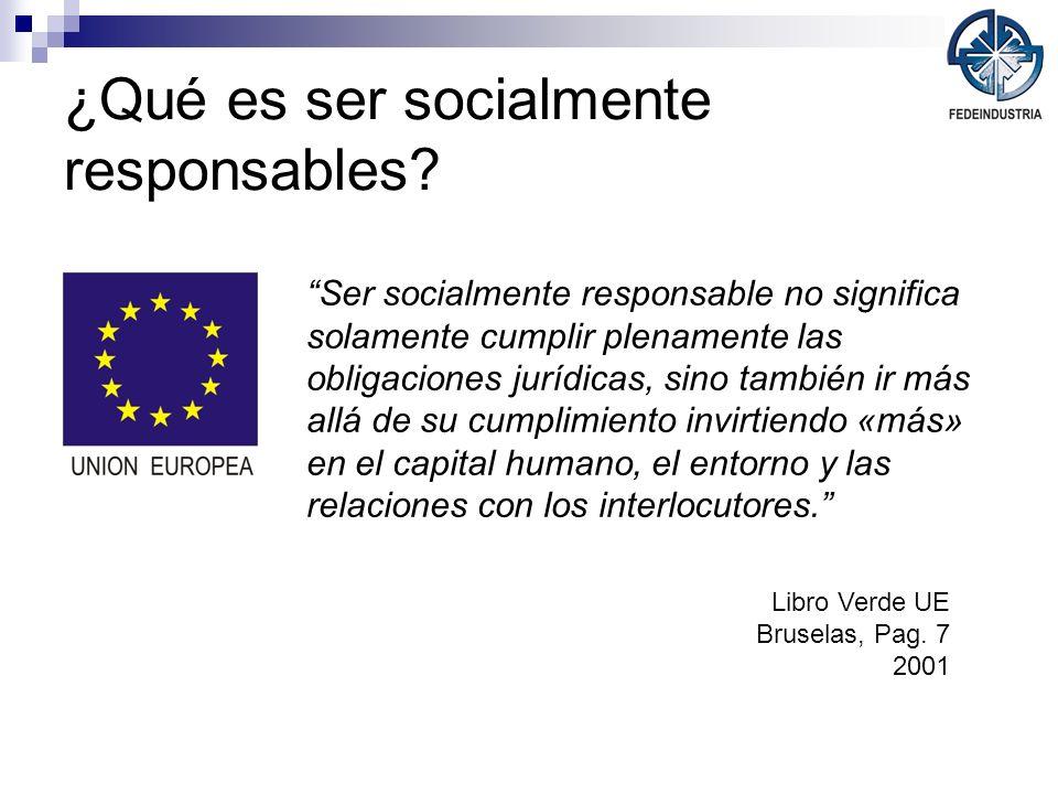 ¿Qué es ser socialmente responsables? Ser socialmente responsable no significa solamente cumplir plenamente las obligaciones jurídicas, sino también i