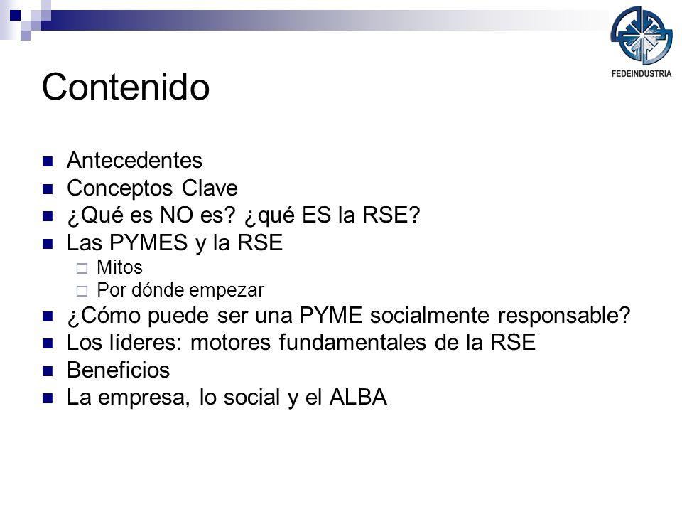 Contenido Antecedentes Conceptos Clave ¿Qué es NO es? ¿qué ES la RSE? Las PYMES y la RSE Mitos Por dónde empezar ¿Cómo puede ser una PYME socialmente
