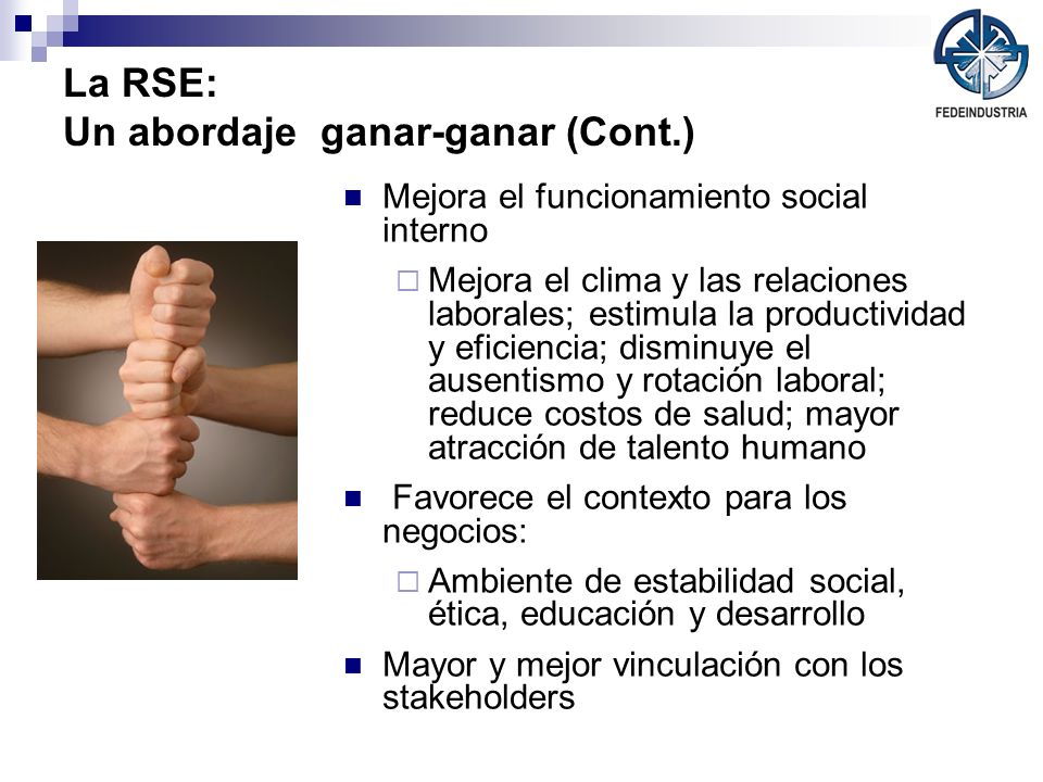 La RSE: Un abordaje ganar-ganar (Cont.) Mejora el funcionamiento social interno Mejora el clima y las relaciones laborales; estimula la productividad
