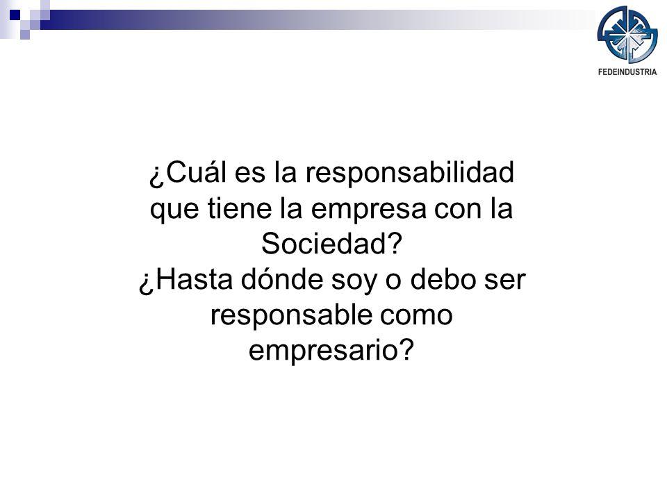 ¿Cuál es la responsabilidad que tiene la empresa con la Sociedad? ¿Hasta dónde soy o debo ser responsable como empresario?