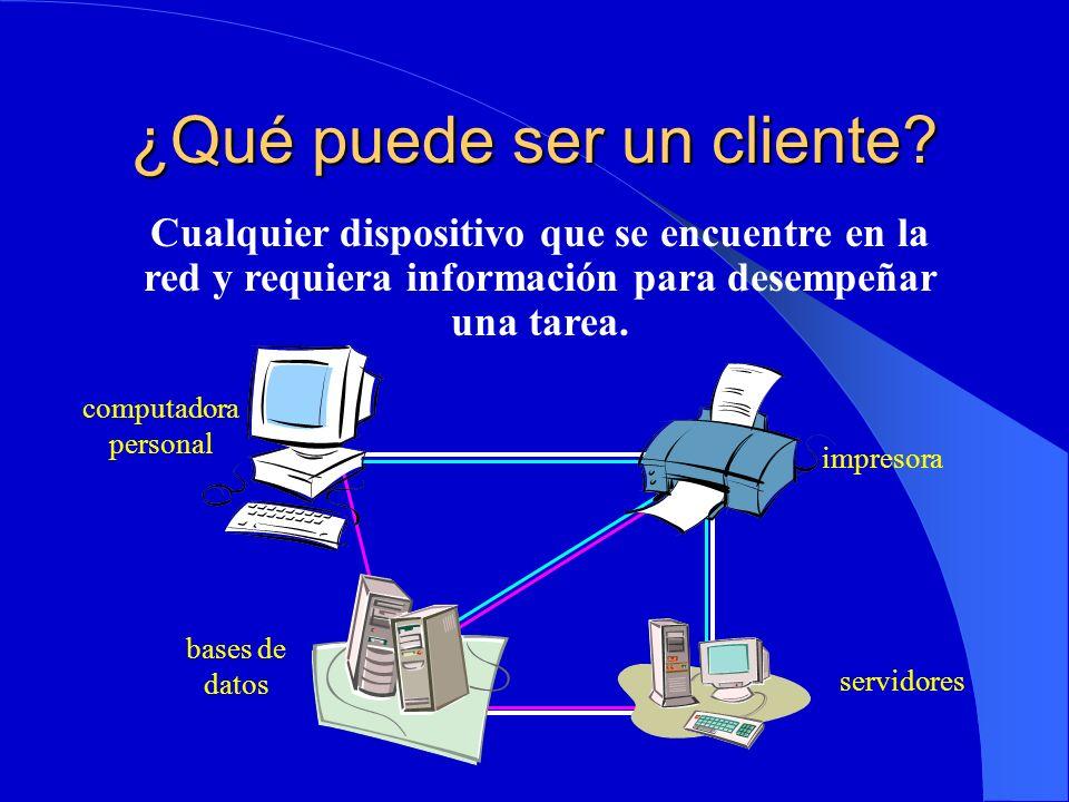 ¿Qué puede ser un cliente? Cualquier dispositivo que se encuentre en la red y requiera información para desempeñar una tarea. impresora computadora pe