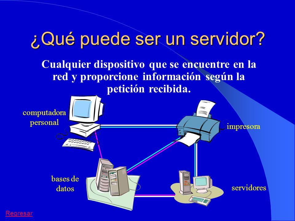 ¿Qué puede ser un servidor? Cualquier dispositivo que se encuentre en la red y proporcione información según la petición recibida. impresora computado