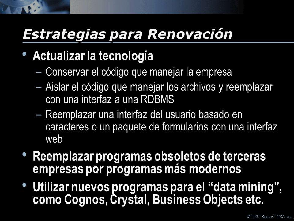 © 2001 Sector7 USA, Inc. Actualizar la tecnología –Conservar el código que manejar la empresa –Aislar el código que manejar los archivos y reemplazar