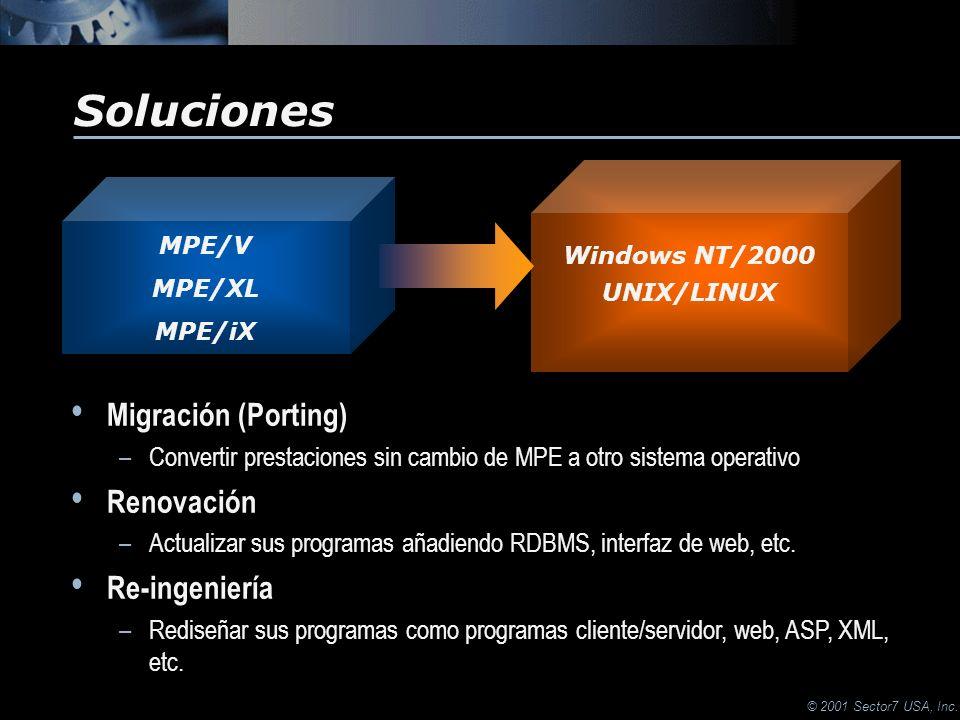 © 2001 Sector7 USA, Inc. Soluciones Migración (Porting) –Convertir prestaciones sin cambio de MPE a otro sistema operativo Renovación –Actualizar sus