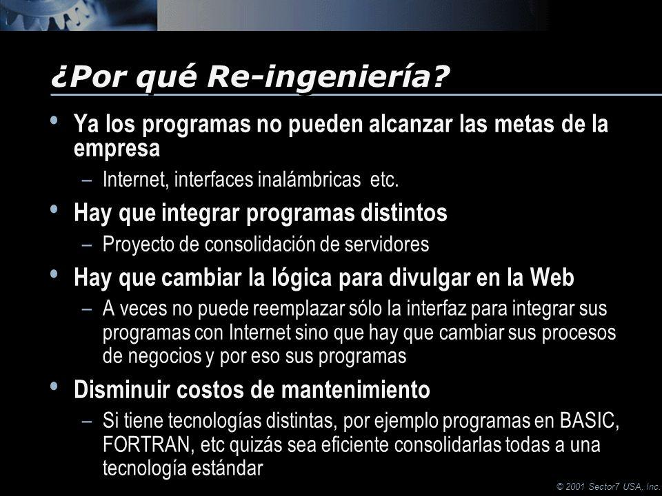 © 2001 Sector7 USA, Inc. Ya los programas no pueden alcanzar las metas de la empresa –Internet, interfaces inalámbricas etc. Hay que integrar programa
