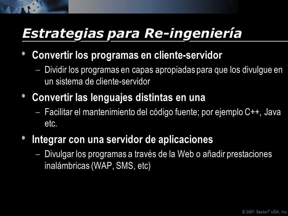 © 2001 Sector7 USA, Inc. Convertir los programas en cliente-servidor –Dividir los programas en capas apropiadas para que los divulgue en un sistema de