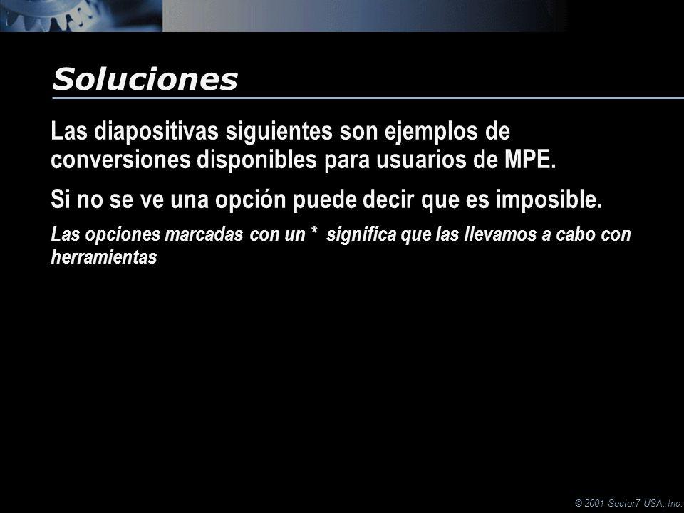 © 2001 Sector7 USA, Inc. Las diapositivas siguientes son ejemplos de conversiones disponibles para usuarios de MPE. Si no se ve una opción puede decir