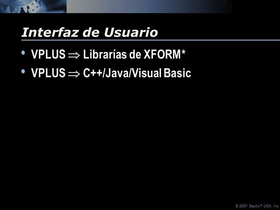 © 2001 Sector7 USA, Inc. VPLUS Librarías de XFORM * VPLUS C++/Java/Visual Basic VPLUS Librarías de XFORM * VPLUS C++/Java/Visual Basic Interfaz de Usu
