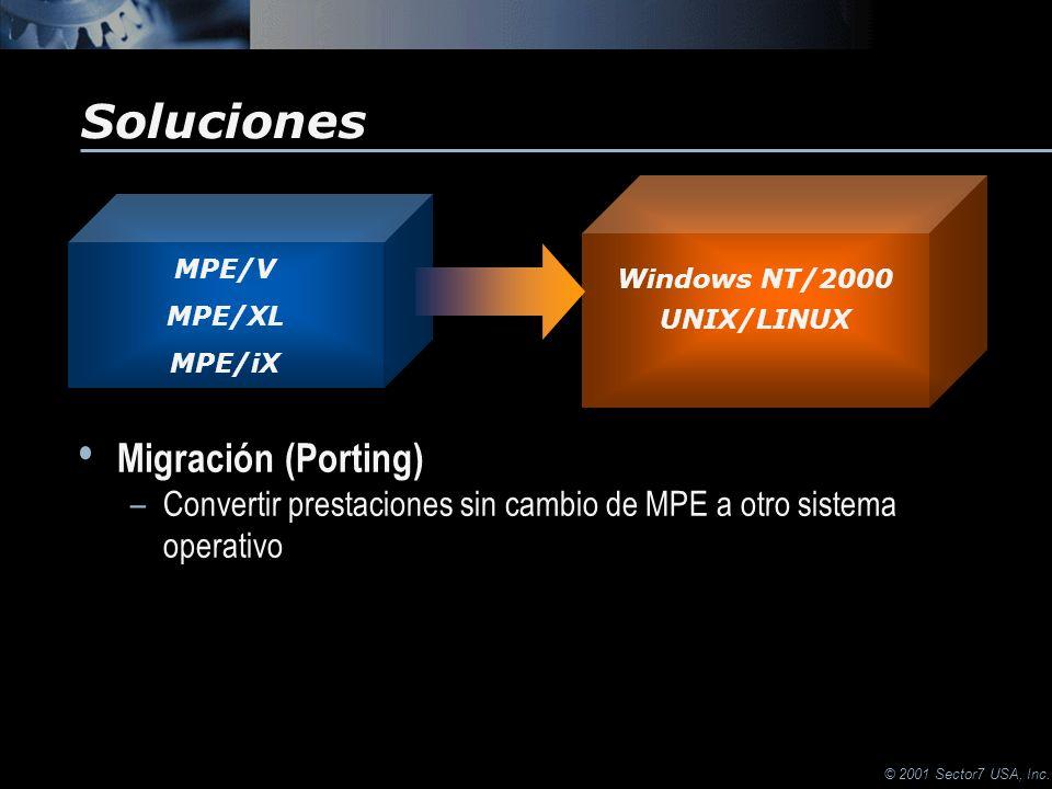 © 2001 Sector7 USA, Inc. Soluciones Migración (Porting) –Convertir prestaciones sin cambio de MPE a otro sistema operativo Migración (Porting) –Conver