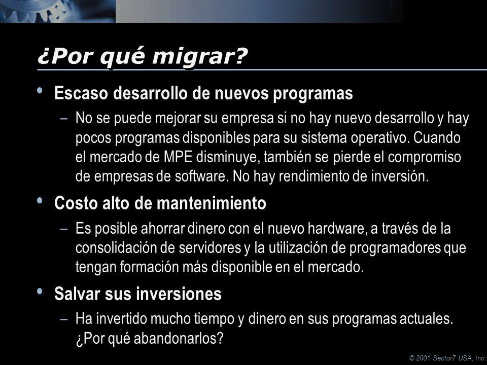 © 2001 Sector7 USA, Inc. Escaso desarrollo de nuevos programas –No se puede mejorar su empresa si no hay nuevo desarrollo y hay pocos programas dispon