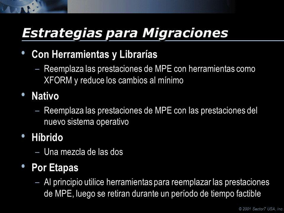 © 2001 Sector7 USA, Inc. Con Herramientas y Librarías –Reemplaza las prestaciones de MPE con herramientas como XFORM y reduce los cambios al mínimo Na