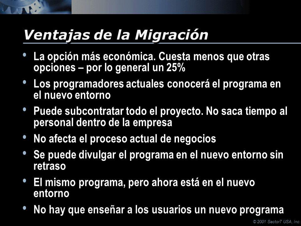 © 2001 Sector7 USA, Inc. La opción más económica.