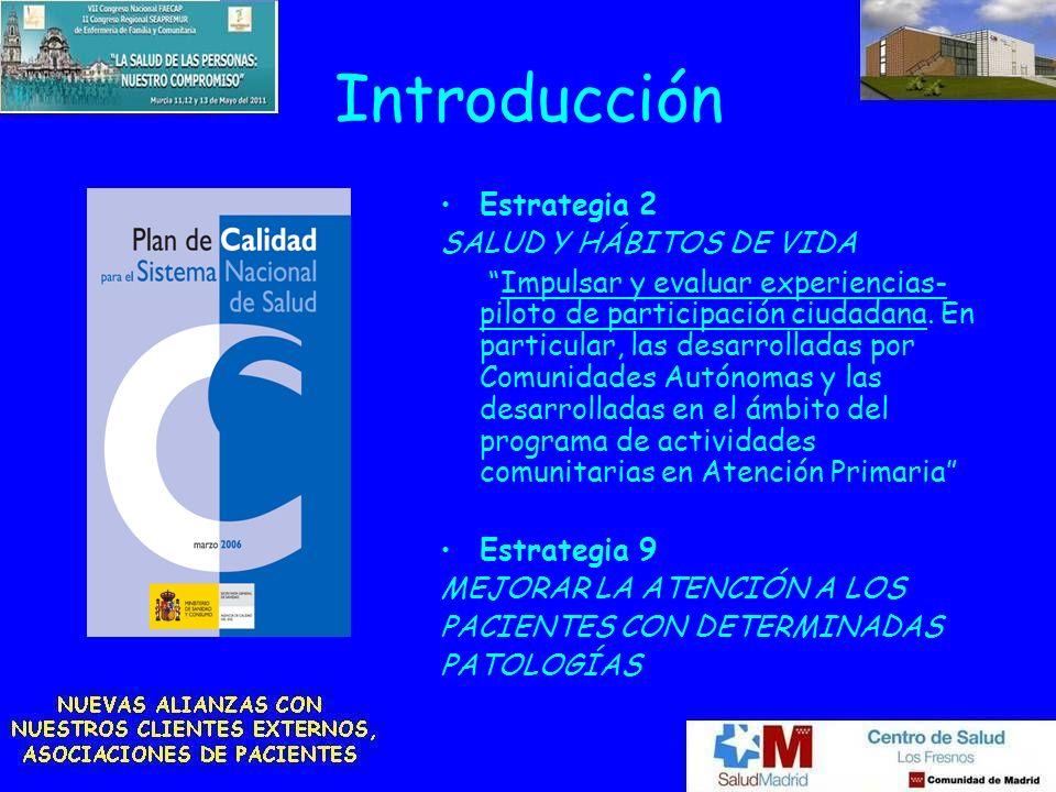 Introducción Estrategia 2 SALUD Y HÁBITOS DE VIDA Impulsar y evaluar experiencias- piloto de participación ciudadana. En particular, las desarrolladas