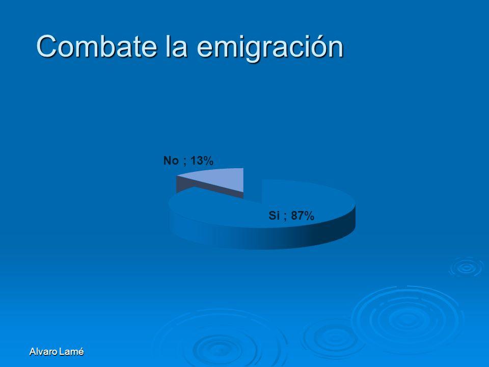 Alvaro Lamé Combate la emigración