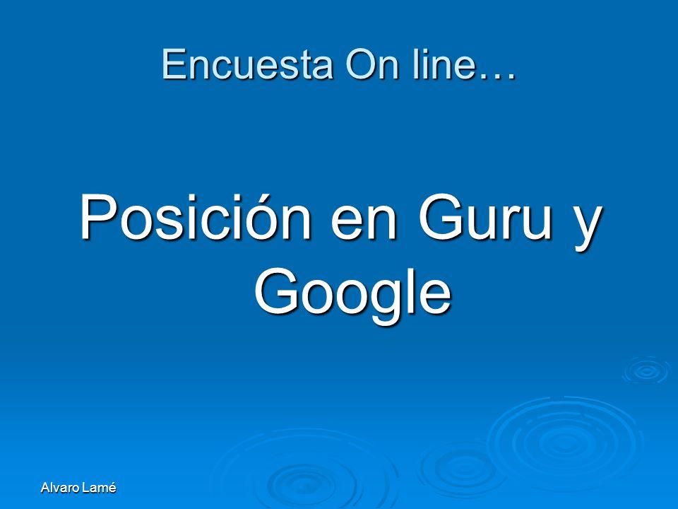 Alvaro Lamé Encuesta On line… Posición en Guru y Google