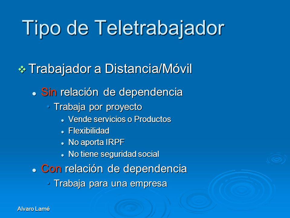Alvaro Lamé Tipo de Teletrabajador Trabajador a Distancia/Móvil Trabajador a Distancia/Móvil Sin relación de dependencia Sin relación de dependencia T