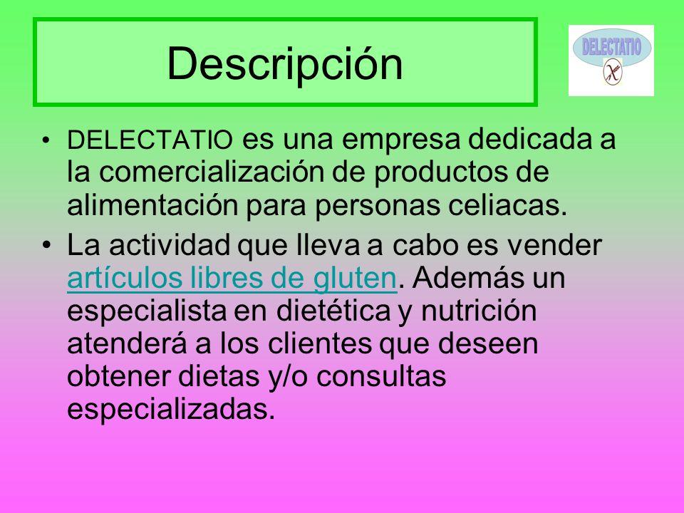 Descripción DELECTATIO es una empresa dedicada a la comercialización de productos de alimentación para personas celiacas. La actividad que lleva a cab